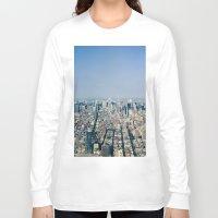manhattan Long Sleeve T-shirts featuring Manhattan  by Anna Harding