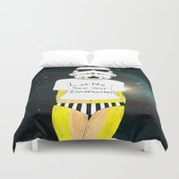 storm trooper Duvet Covers featuring Storm trooper-fan art by Juana Andres