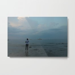 Taking a Photograph on Connecticut Beach Metal Print