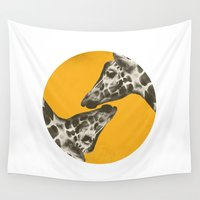giraffes Wall Tapestries featuring Kissing Giraffes by POP Collective