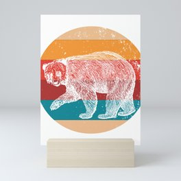 Vintage Grizzly Bears Lover Retro Style Silhouette Gift Mini Art Print