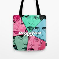 the breakfast club Tote Bags featuring Breakfast Club Colors by David Amblard