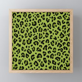 PSYCHOBILLY GREEN LEOPARD PRINT – Lime Green | Collection : Leopard spots – Punk Rock Animal Prints. Framed Mini Art Print