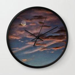 Crescent Moon At Sunrise Wall Clock