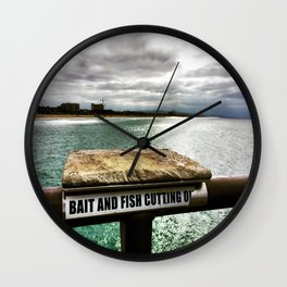 Huntington Pier- Bait and Fish Wall Clock