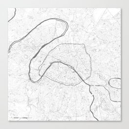 The Map of Paris Line Drawing Canvas Print
