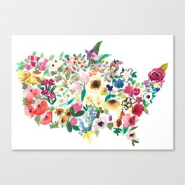 united flowers of america // watercolor floral flower map of the united states usa us Canvas Print