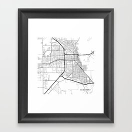 Beaumont Map, USA - Black and White Framed Art Print