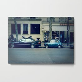 Parking in Paris isn't so hard...when you've got a tiny car! Metal Print