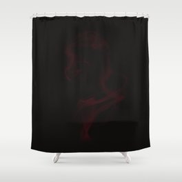 Red smoke on black backgound Shower Curtain