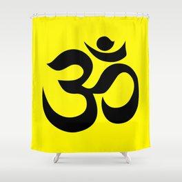 Black AUM / OM Reiki symbol on yellow background Shower Curtain