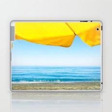 Yellow Beach Brolly with Blue Sea and Sky Laptop & iPad Skin