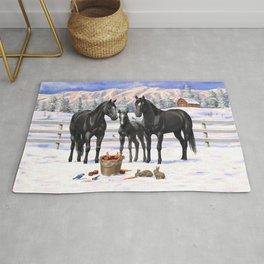 Beautiful Black Quarter Horses In Snow Rug