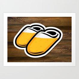 Beer Slippers Art Print