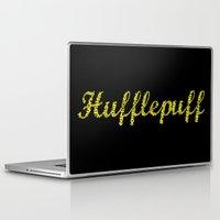 hufflepuff Laptop & iPad Skins featuring One word - Hufflepuff by husavendaczek