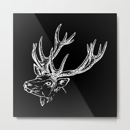 Deer Black White Metal Print