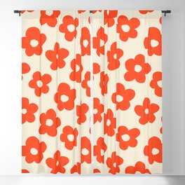 Retro 60s 70s Flower Pattern #pattern #vintage #poppy Blackout Curtain