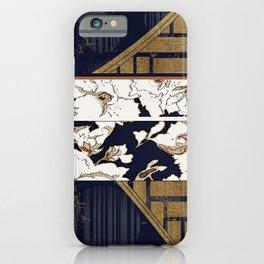 Navy and Gold Herringbone Peony Obi Print iPhone Case