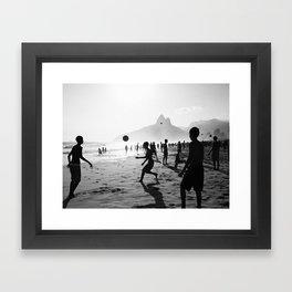 Beach Soccer at Ipanema Framed Art Print