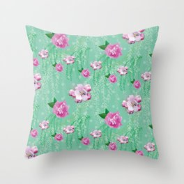 Blossom Willow Flower Pattern Turquoise & Pink Throw Pillow