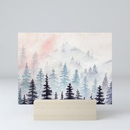 Watercolour Mountain Forest Mini Art Print
