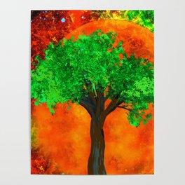 AUTUMN TREE HARVEST MOON Poster