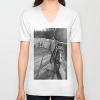 bicycles V-neck T-shirts featuring bicycles near the canal by habish