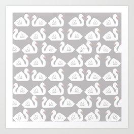 Swan minimal pattern print grey and white bird illustration swans nursery decor Art Print