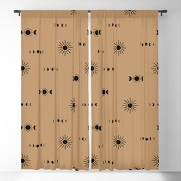 Little sunny day and midnight moon phase boho universe pattern caramel brown black Blackout Curtain