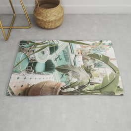 Travel Photography Art Print | Tropical Plant Leaves In Marrakech Photo | Green Pool Interior Design Rug