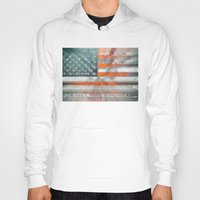 american flag Hoodies featuring American flag by Bekim ART