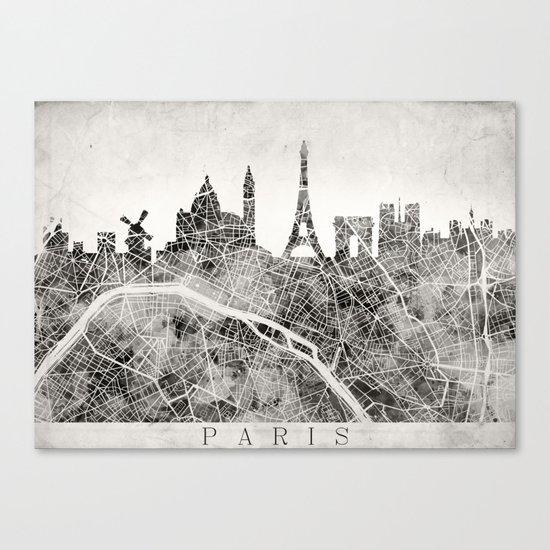 Paris Skyline + map #3 Canvas Print