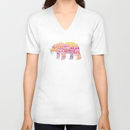 Bear in Different Languages Unisex V-Neck