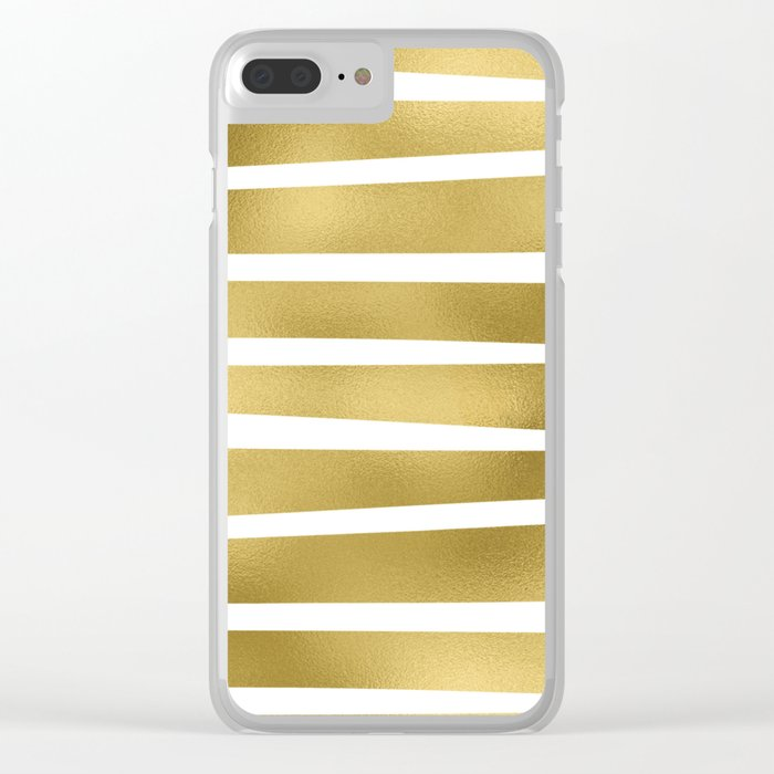 Simply Luxury Gold unequal glitter stripes on clear white - horizontal  pattern Clear iPhone Case