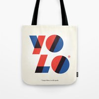 yolo Tote Bags featuring Yolo by Wharton