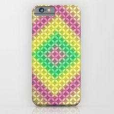 Multi Color Diamond Shapes on Floral Background iPhone 6s Slim Case