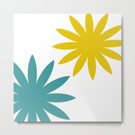 Flowers in Teal and Yellow Metal Print