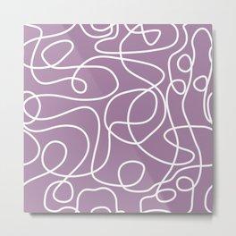 Doodle Line Art | White Lines on Soft Purple Metal Print