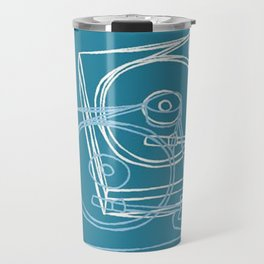 Blue Record Player Travel Mug