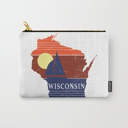 Wisconsin State WI Sailboat Sunset Print Carry-All Pouch