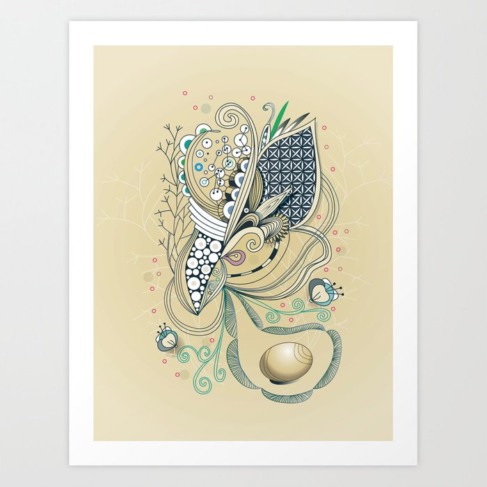 Beige tangle of joy and vibrant nature Art Print