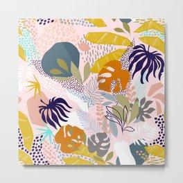 Tropical Retro Boho Foliage Pattern - Pink Metal Print