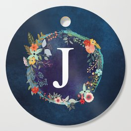 Personalized Monogram Initial Letter J Floral Wreath Artwork Cutting Board