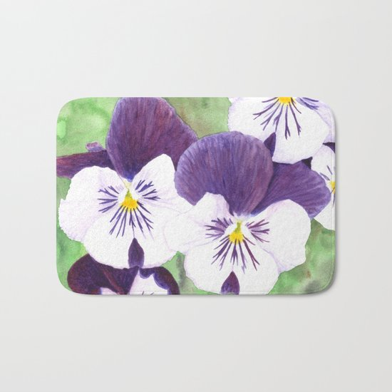 Pansies flowers Bath Mat