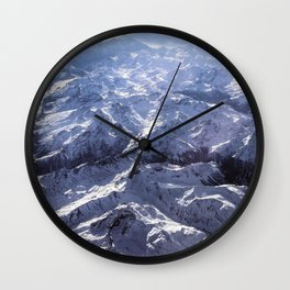 White mountains with snow winter nature Wall Clock