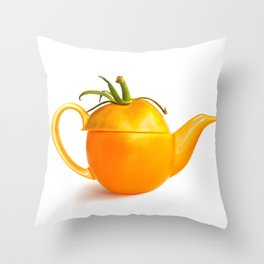 Concept yellow tomato teapot Throw Pillow
