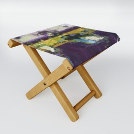 Controversy Prince Deep Purple Abstract Painting Modern Art Folding Stool