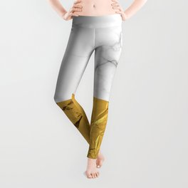 Gold Foil and Marble Leggings