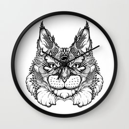 CAT maine coon  / LYNX head. psychedelic / zentangle style Wall Clock