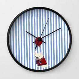 French Bulldog with Stripe Wall Clock